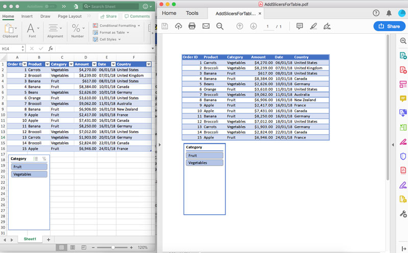 Support Conversion of Excel Spreadsheets having Slicers to PDF