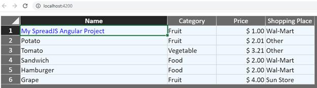 SpreadJS 데이터 바인딩 추가