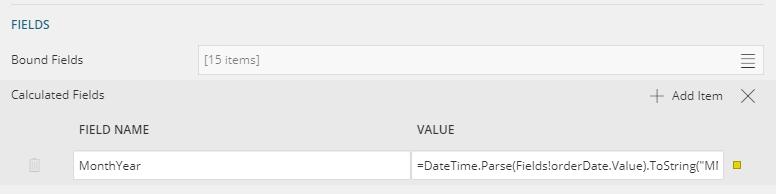 Data Set - Calculated Fields (MonthYear)