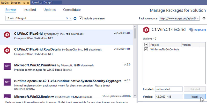 Using ComponentOne Winforms Controls with the NuGet Package Manager
