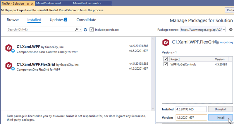 Using ComponentOne WPF Controls with the NuGet Package Manager