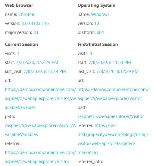 Using Visitor WEB API for Targeted Marketing