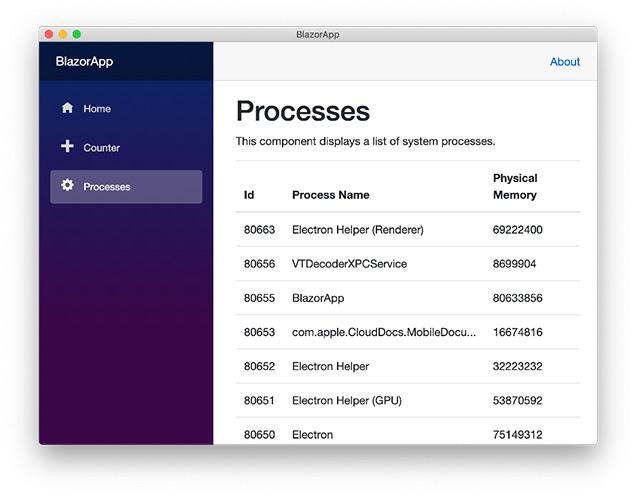 프로세스를 실행 중인 Blazor 응용 프로그램