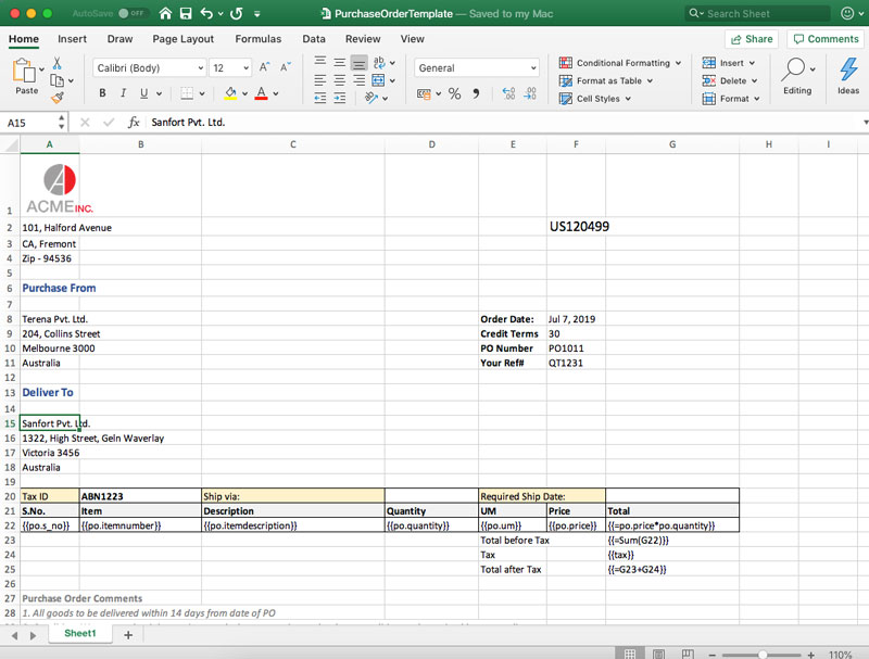 Generate Excel Spreadsheets for Purchase Orders