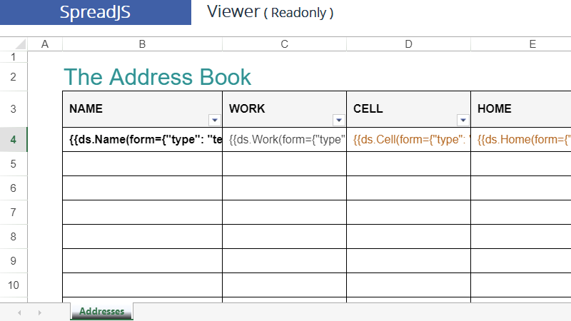 Textbox PDF Form Field sample Excel Template for Address Book