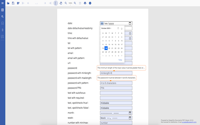 Example of supported input types for GcExcel .NET Excel Library and GcPdfViewer, supporting custom HTML5 inputs by GrapeCity