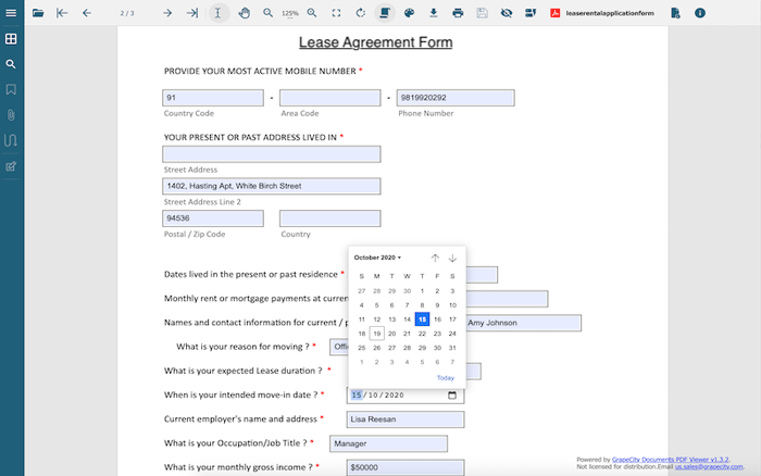 Example lease form using GcExcel .NET Excel Library and GcPdfViewer to add, fill and submit custom HTML5 controls by GrapeCity