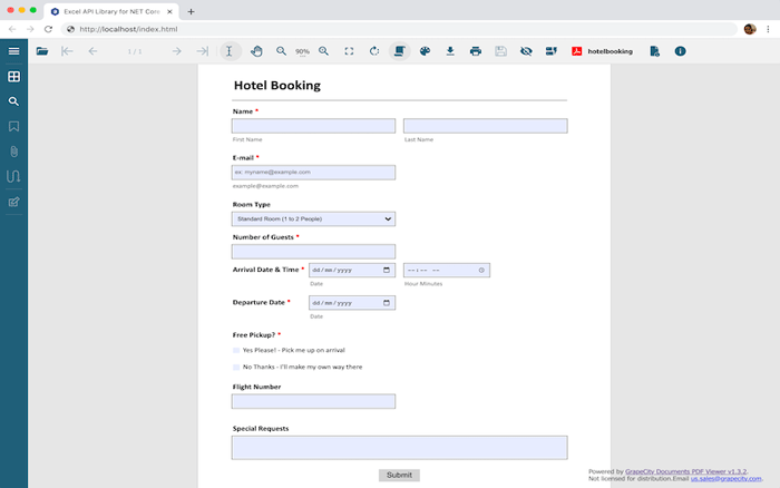 JavaScript Form Viewer Example from GrapeCity