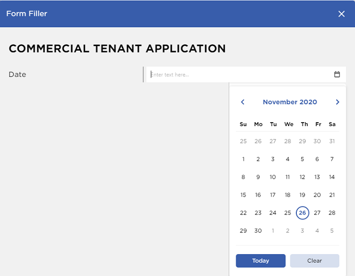 Example of date picker formatting using GcDocs API by GrapeCity