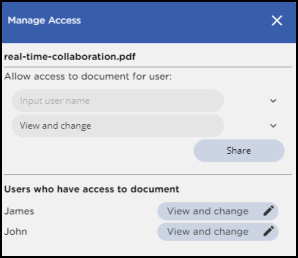 GcPdfViewer Manage Access display to manage document collaboration permissions by GrapeCity