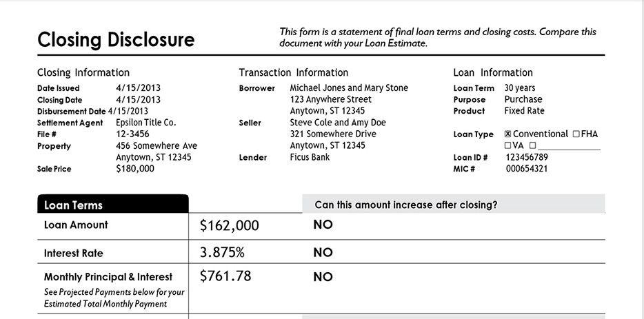 Sample completed file for Loan Closing Disclosure created by GcWord V4 API in C Sharp by GrapeCity