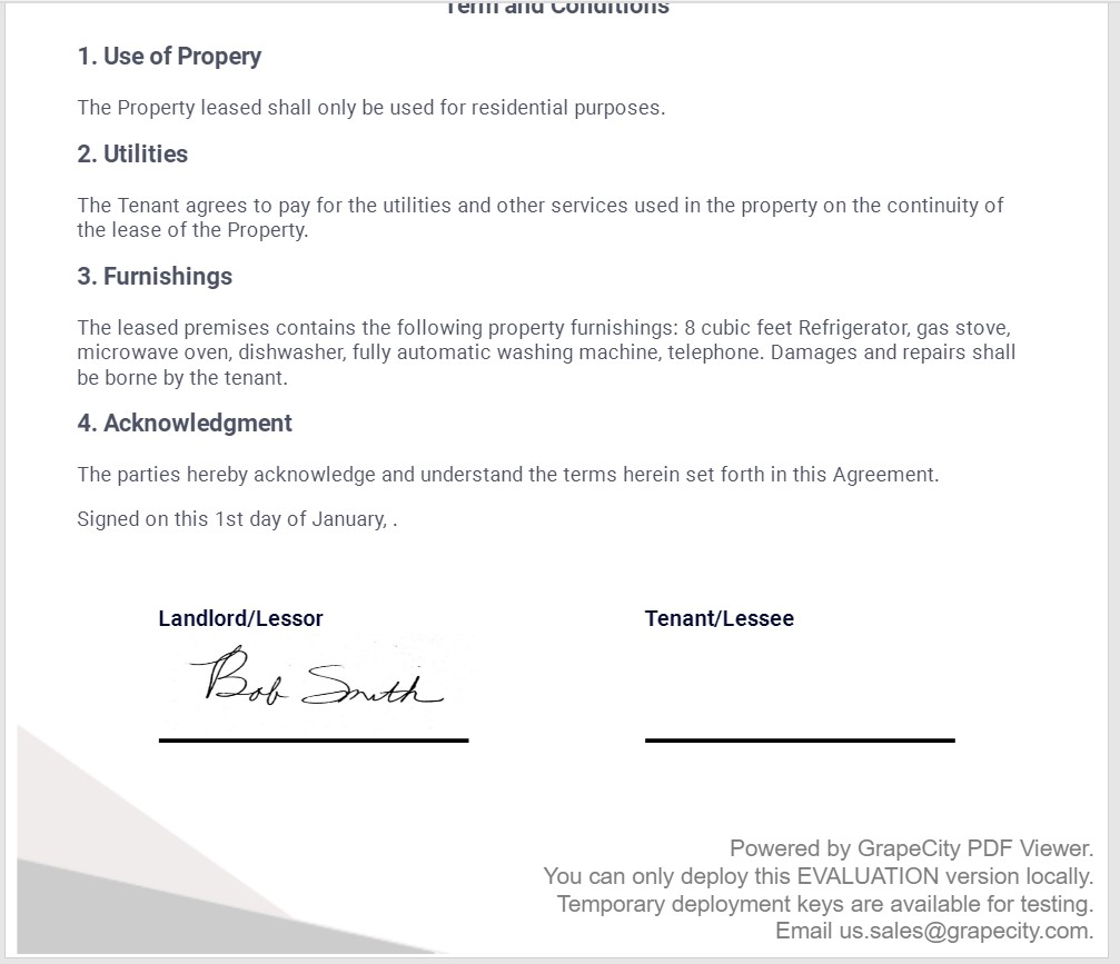 Signed lease example for inserting graphical Signatures using JavaScript and GcPdfViewer AP