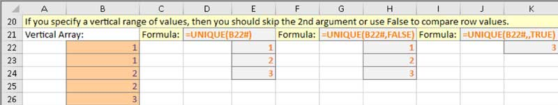 UNIQUE function example 2