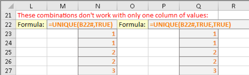 UNIQUE function example 3