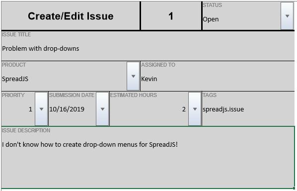 SpreadJS v13 Cell Drop Downs