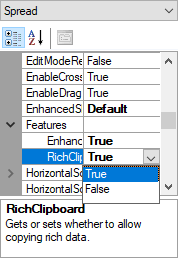 Figure 6  Enable FpSpread.Features.RichClipboard using property grid