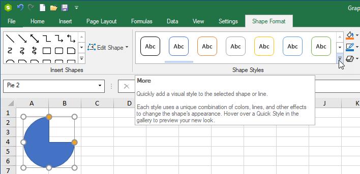 hape Styles in Ribbon Bar Shape Format Tab