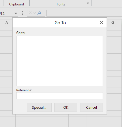 excel like go to