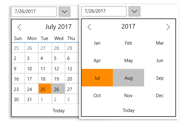 UWP DateTime Editor Month View