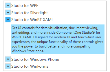 Accordion for WPF | ComponentOne