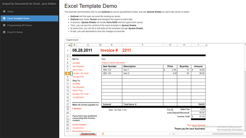Documents for Excel Demo