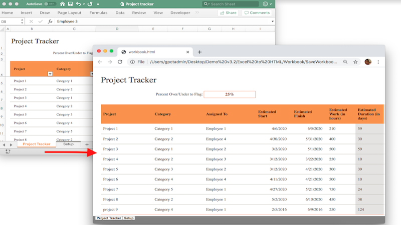 Convert your Financial Excel reports to HTML