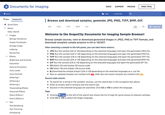 .NET 5 Document APIs Documents for Imaging Samples Generate JPG, PING, TIFF, BMP, GIF or ICO