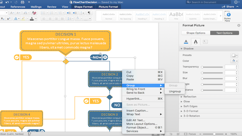 Create and modify Flow charts, flyers, company logos