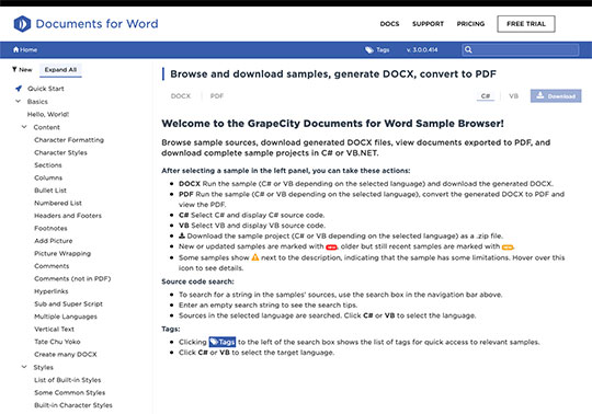.NET 5 Document APIs Documents for Word DOCX Sample Browser