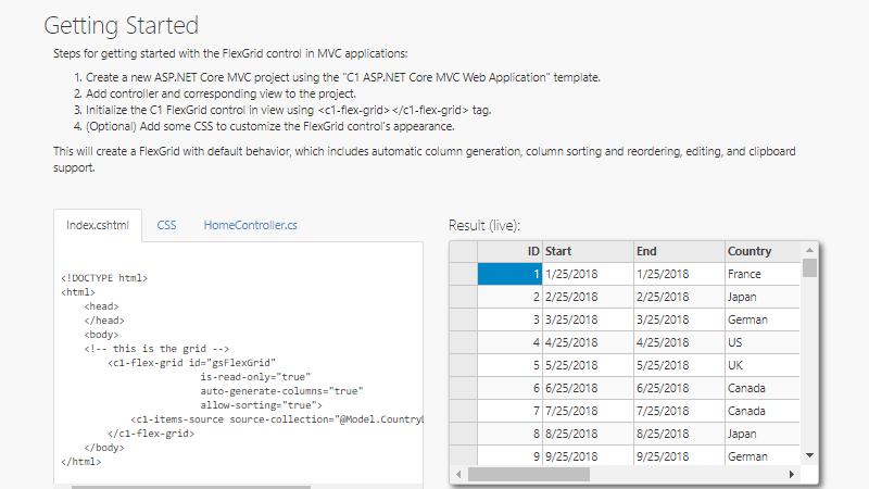 FlexGrid  NET Data Grid Control | Visual Studio Components