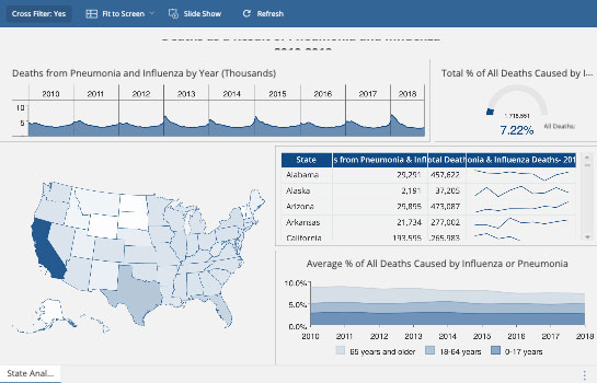 Healthcare Dashboard - Pneumonia & Influenza