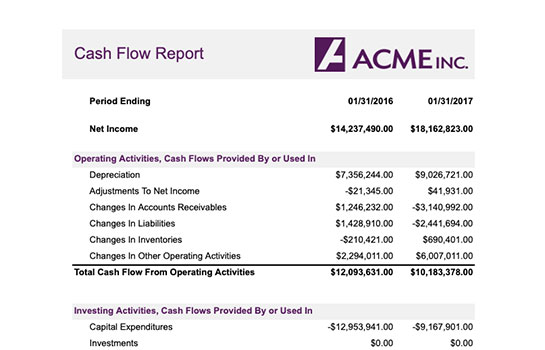 Finance Report - Cash Flow