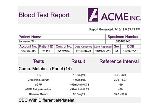 Healthcare Report - Blood Test Results